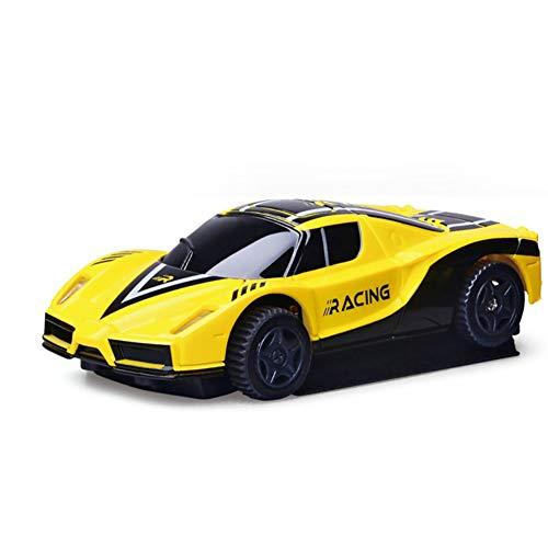 Qiulv Mini Pared Que Sube el Coche Vehículo teledirigido del LED 360 ° rotación Cero Gravedad Coche Modo Dual de la Pared y del Piso USB Recargable Racing para Adultos y niños Mejor Regalo,Yellow