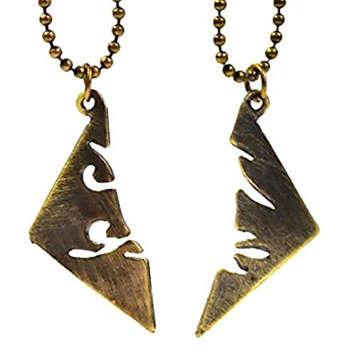 Inception Pro Infinite 2 x Halskette mit Anhänger in der Hälfte Geteilt - Bronze Farbe - City of Bones The Mortal Instruments Rune Parabatai Shadowhunter