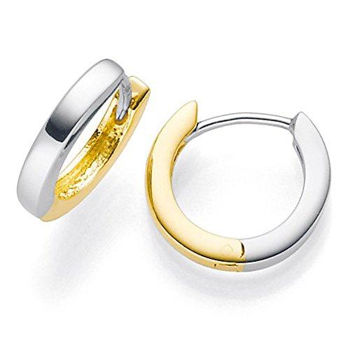 Kleine Creolen 585 Gold gelb/weiß 12x2mm Ohrringe Ohrschmuck flach bicolor Damen (14kt Creolen Kleine Gold)