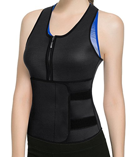 Neoprene Sauna Suit Tank Top Vest with Adjustable Shaper Waist Trainer Belt Hooks