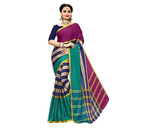 Nil's Sarees Banarasi Art Silk Saree With Unstiched Blouse- Green