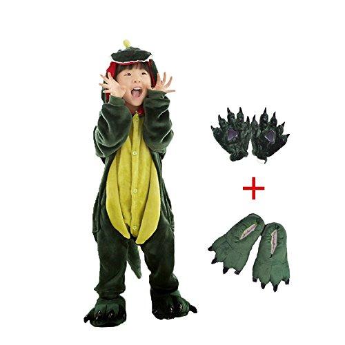 Dreamowl Kids Mädchen Jungen Dinosaurier Tier Kostüm-Kinder Plüsch Pyjamas Fluffy Tier Onesie befestigen Schuhe Pfote (Grün, 116-128)