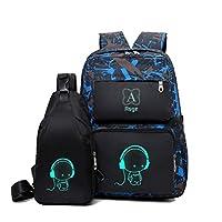 Asge School Bags for Teenage Boys Camo Casual Backpacks Luminous Unisex Kids Rucksack Travel Canvas Daypack College Bookbag Waterproof Lightweight Student Back Pack Sling Shoulder Backpacks Set