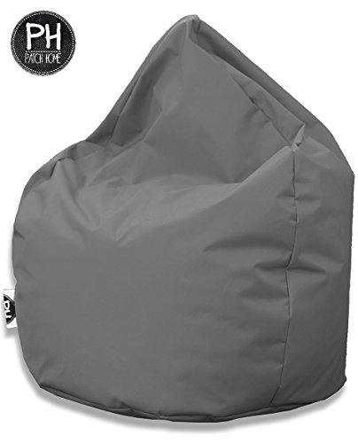 Patchhome Sitzsack Tropfenform Anthrazit f?r In & Outdoor XL 300 Liter - mit Styro...