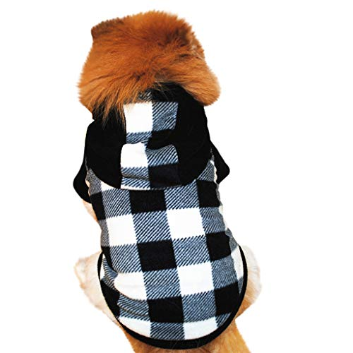Amphia - Haustier Pullover mit Kapuze - Hundehaustierkleidung Hoodie Warmer Fleece-Welpen-Mantel-Kleid(Schwarz,L)