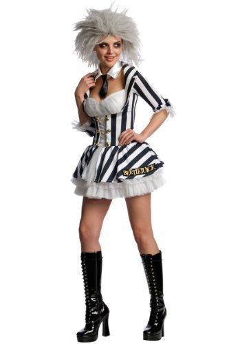 Sexy Miss Beetlejuice Kostüm inkl Perücke - Large (Damen Beetlejuice Kostüme)