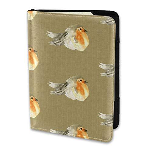 Passport Holder Cover,-K Baby Bird Robin Fall Autumn Linen Watercolor Orange Tan Gray Grey Cream Tobacco Wallet Credit Card Set Blocking Leather Card Case Travel Accessories 6.5
