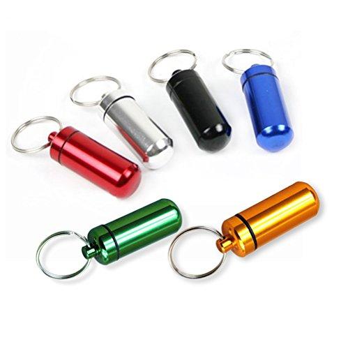 Pille-kapsel Metall Aus (lumanuby 6PCS Notfall Pillendose mit Schlüsselhalter tragbar klein Pille Fall Kapsel Wasserdichter Versiegelung aluminium Legierung Kartusche Colorful)