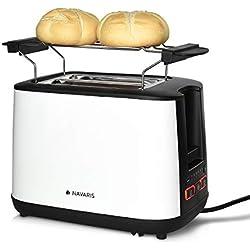 Navaris Grille-Pain - Toaster Double paroi avec 2 Compartiments et ramasse-miettes - Décongélation réchauffage arrêt avec 6 Niveaux de brunissage