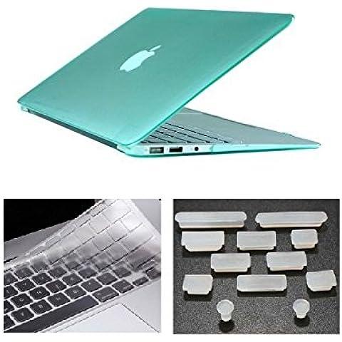 HYAIT 3in 1Ultra Sottile Cristallo Hard Case + tastiera copertura + Anti-Dust Plugs per Apple Macbook Air 13,3A1369e A1466–Turchese