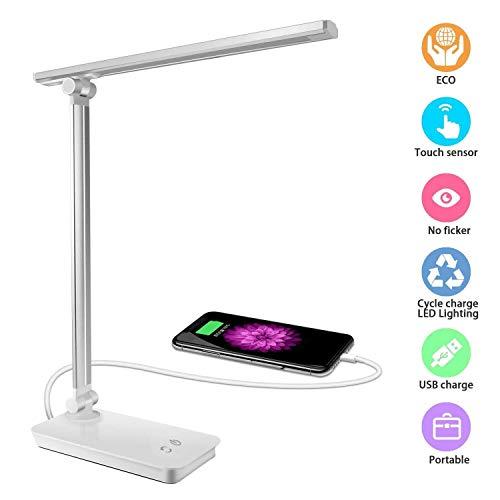 DAMIGRAM Lámpara Escritorio LED, Plegable Lámpara de Mesa USB ...