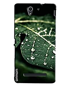 Omnam Green Leaf With Water Drop Printed Designer Back Cover Case For Sony Xperia C3
