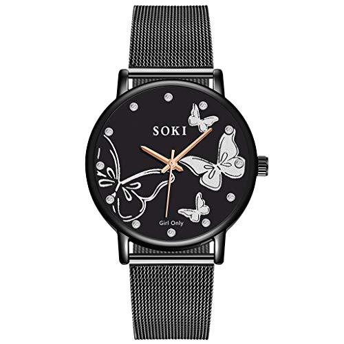 YEARNLY Classic Einfaches Uhr-Damen,Mode Schmetterling Zifferblatt Design,Legierungsriemen, ()