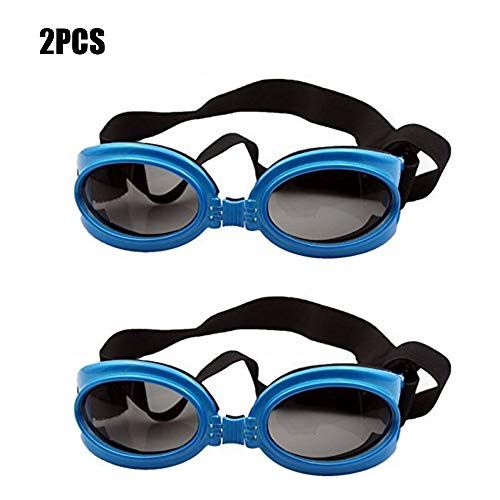 YOCC Dog Goggles Sonnenbrillen & UV-Schutzbrillen, Faltbare Pet Eye Wear Verstellbare, Winddichte Brille Innenrahmen mit Schwamm, großer und mittlerer Hund,Blue