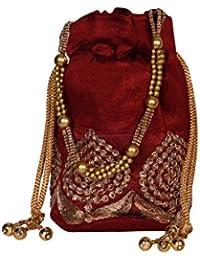 Decot's Women's Velvet Embellished Potli Bag