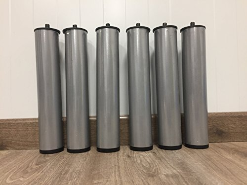 SZZZ-6 Patas de Somier-Base Tapizada, metálicas y cilíndricas. 25,5 cm de altura x 5 cm de diametro. Rosca Metrica 10mm. Gris metalizado.