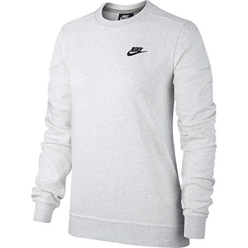Nike W NSW Club Crew FLC, T-Shirt A Manica Lunga Donna, Birch Heather/Black, S