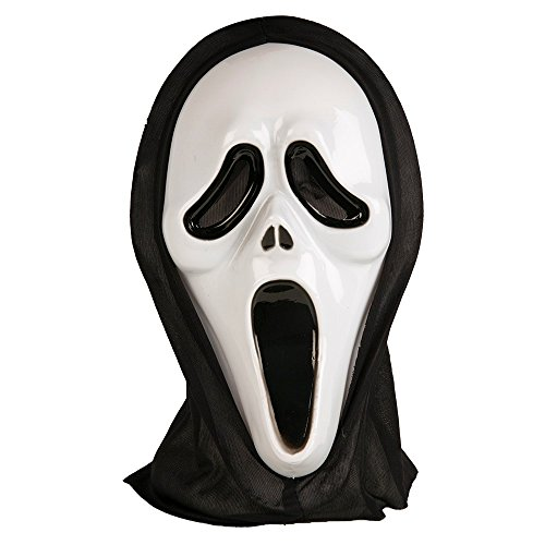 Adults Halloween Ghost Face Scream Mask with Black (Maske Scream Erwachsene)