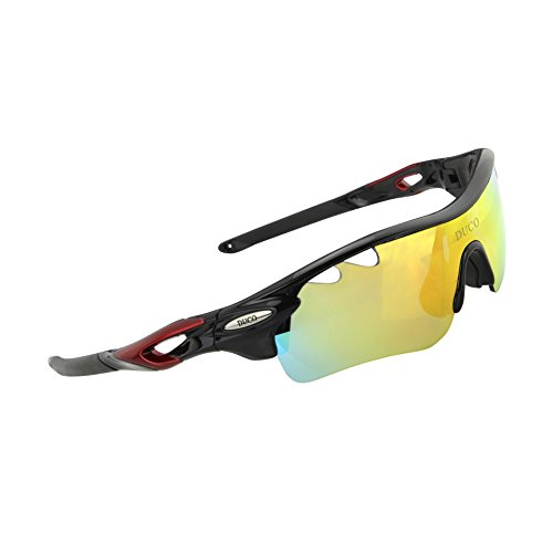 Duco POLARIZED Sports Sunglasses Cycling Glasses With 5 Interchangeable Lenses 0025 Black