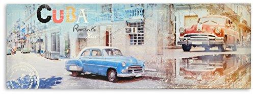 AVENUELAFAYETTE Cadre Toile Tableau Voiture - Vintage rétro - Cuba - 90 x 30 cm (M3)