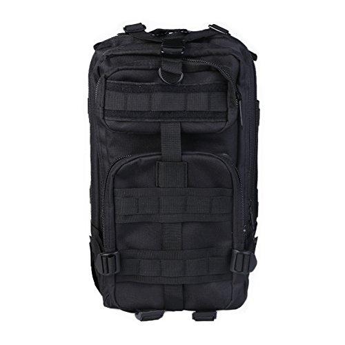 3P Tactical Backpack, Army Tactical Rucksack, Camouflage Attack Pack, woodland Survival Pack, Wasserdicht Oxford Rucksack, Multifunktionale Rucksack (30L) für Outdoor Camping Wandern Reise. Schwarz