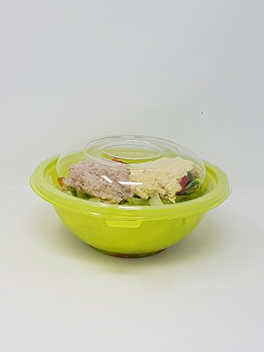 Plastique saladiers/conteneurs avec couvercle – Vert – 907,2 gram (.9 litre) – Lot de 10