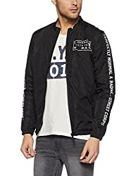 Jack & Jones Mens Nylon Jacket (1976857001_Black_XX-Large)