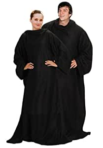 Black Soft Warm Cosy Snuggle TV Blanket Fleece Snug Sleeves Sleeved Rug by Puregadgets