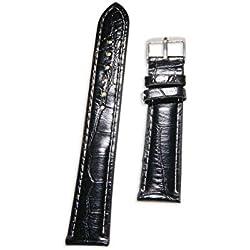 Enez Leather (PU) Leather Bracelet Width: 18mm Clock Ersatzarmband Black T135
