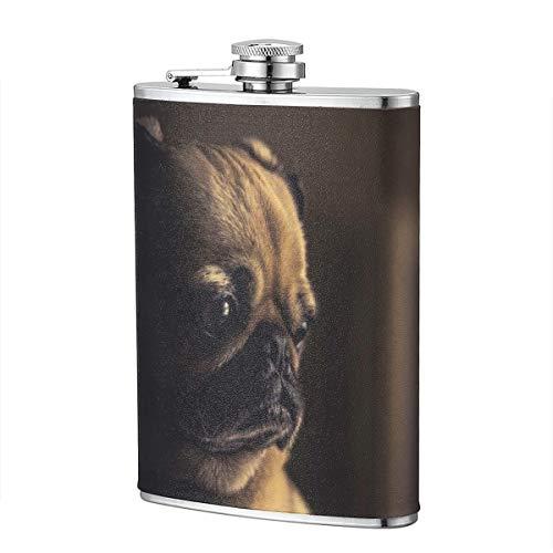 PecoStar Hunde-Taschenflasche, Edelstahl, mit PU-Lederummantelung, 100% auslaufsicherer Flachmann -