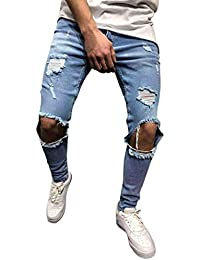 Luckycat Herren Hose Jeans Destroyed Löchern Jeanshosen Used Slim Fit Skinny  Stretch Freizeithose Denim 903dc70e65