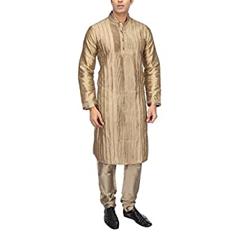 Kashish by Shoppers Stop Men's Synthetic Kurta (9263181_Brown_44)