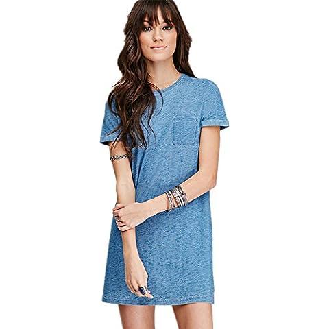 Boyfriend Stile Tasche Sul Davanti Lungo Lunghi Lungaline Rimboccarsi le maniche T-Shirt Camicia Chemisier Mini Corti Corto Vestito Abito Blu