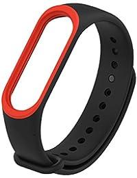 Hongtianyuan Correa de Recambio, Kit de Reposición, Correa de Repuesto para Reloj Inteligente de Xiaomi Mi Band 3, Dos Colores (Rojo negro)