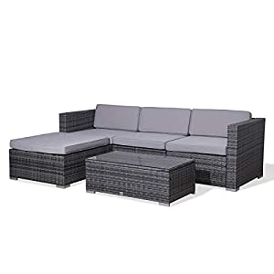 SVITA Poly Rattan Lounge California Gartenset Sofa Garnitur Polyrattan Gartenmöbel Farbwahl (Grau)