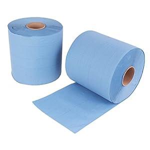 2 Stück Putzrollen blau | je 500 Blatt 2-lagig | 21×34 cm | verleimt geprägt und nassfest | von EUROCELL
