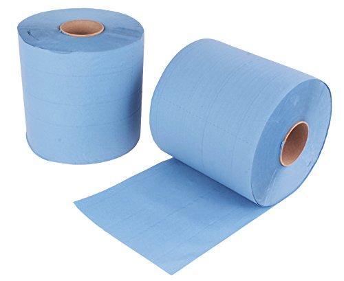 2 Stück Putzrollen blau | je 500 Blatt 2-lagig | 22x38 cm | verleimt geprägt und nassfest | von EUROCELL