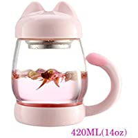 Tazza di tazza di tè di vetro di gatto con un filtro del filtro del coperchio, maniglia di coda del tè della tazza di caffè sveglia del gatto per il regalo di natale del bambino dei bambini 420ML (14O (Rosa)