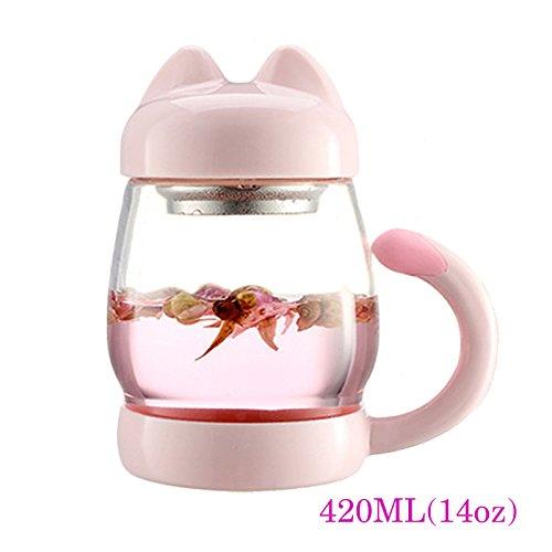 BigNoseDeer Katze Glas Teetasse Becher mit Einem Deckel Sieb Filter, Nette Katze Kaffeebecher Schwanz Griff für Kinder Kind Weihnachtsgeschenk 420ml (14oz (Rosa)
