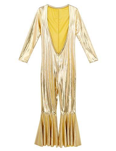 ok Body Longsleeve Langarmshirt V Ausschnitt Slim Fit Schlaghose 60er 70er Jahre Hippie Disco Kostüm Tanz Gold M ()