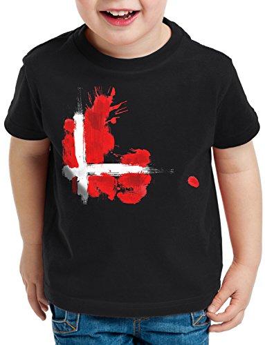 CottonCloud Flagge Dänemark Kinder T-Shirt Fußball Sport Denmark WM EM Fahne, Farbe:Schwarz, Größe:152