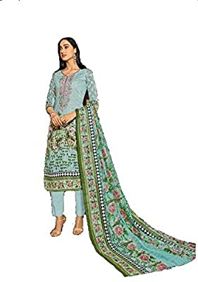 Ds Fabrics Pakistani Lawn cotton Dress material With Self Embroidery With Exclusive Nazneen Dupatta with Interlock