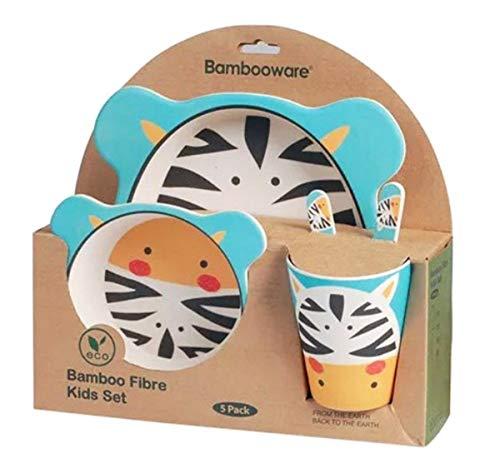 Buabi Vajilla de bambú bebé e Infantil, Material ecológico sin BPA Animales, Apto para lavavajillas (Zebra)