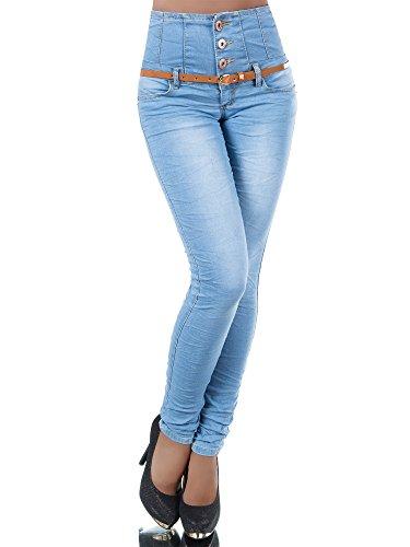 N207 Damen Jeans Hose Corsage Damenjeans High Waist Röhrenjeans Hochbund, Farben:Hellblau;Größen:36 (S)