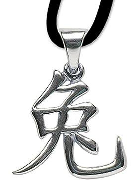 Chinesisches Sternzeichen Hase Anhänger Amulett 925er Silber Schmuck mit Lederhalsband 04