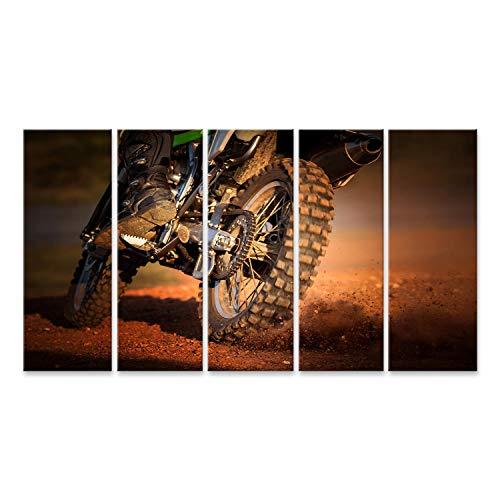 bilderfelix® Bild auf Leinwand Wirkung des Enduro-Motorrads auf dem Feldweg Wandbild Poster Leinwandbild RSC