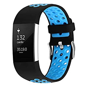 Silicone Bracelet Strap Replacement Band for Fitbit Charge 2 Smartwatch Heart Rate Fitness Wristband