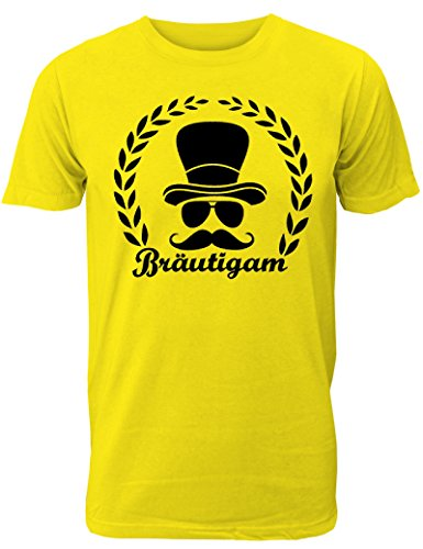 Hut Gelb T-shirt (Herren T-Shirt für Den Junggesellenabschied mit Motiv Bräutigam (mit Lorbeerkranz) (Männer/Bräutigam) in Gelb, Größe M)