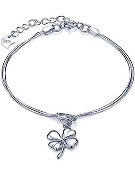 Unendlich U Glücklich Vierblättriges Kleeblatt Mädchen Charm-Armband 925 Sterling Silber Doppel Armkette Verstellbar...