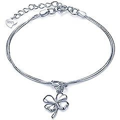 Idea Regalo - Infinite U, braccialetto da ragazza in argento Sterling 925, con ciondolo a forma di quadrifoglio portafortuna, regolabile, doppia catenella